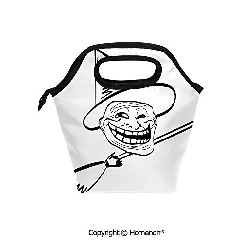 Insulated Neoprene Soft Lunch Bag Tote Handbag lunchbox,3d prited with Halloween Spirit Themed Witch Guy Meme Lol Joy Spooky Avatar Artful,For School work Office Kids Lunch Box & Food Container -