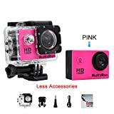 NUOYAREN Action Camera 1080P 12MP Sports Camera Full HD 2.0 Inch Action Cam 30m/98ft Underwater Waterproof Camera with Mounting Accessories Kit (Pink-Less)