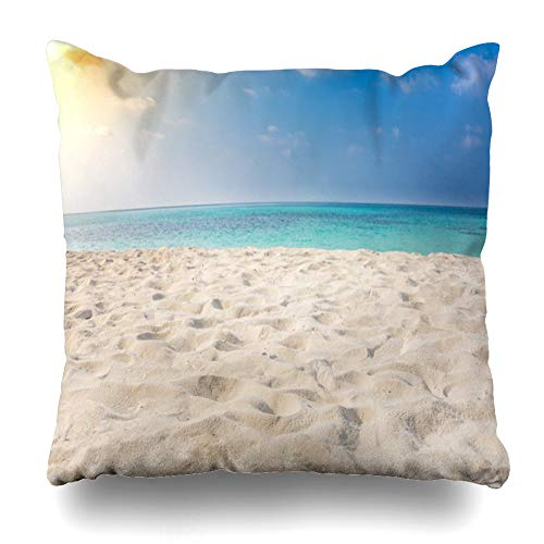 Suesoso Decorative Pillows Case 20 x 20 Inch White Sandy Tropical Beach and Soft Sunlight Greeting Invitation Thank You Throw Pillowcover Cushion Decorative Home -