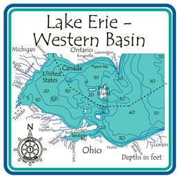 Lake Erie Depth Map Amazon.: Lake Erie Western Basin Region 3D Laser Carved Depth