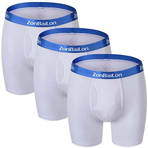 ZONBAILON Underpant for Men Pack Breathable Boxer Briefs Underwear Long Leg White XL 40 42
