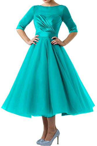 29e1551f62679 XSWPL Womens Puffy Tulle Mother of The Bride Dresses Tea Length with Half  Sleeves_Turquoise_18W