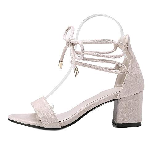 CCALP014975 Lace Beige Women Open Toe Frosted VogueZone009 Heels up Kitten Solid Sandals fqnvFp