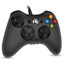 RegeMoudal 360 PC Game Wired Controller for Microsoft Xbox 360 and Windows PC (Windows 10/8.1/8/7) with Dual Vibration and Ergonomic Wired Game Controller (Black 1)