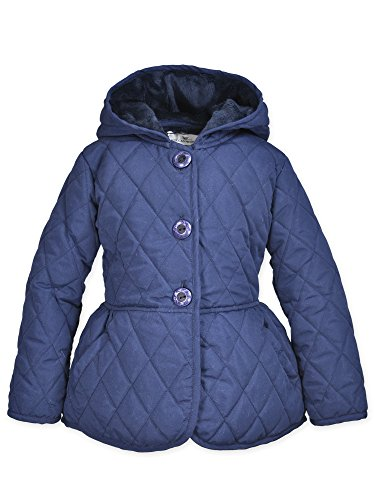 - Widgeon Toddler Girl's Quilted Nylon Peplum Jacket Outerwear, Quilted Navy-QNA, 4T