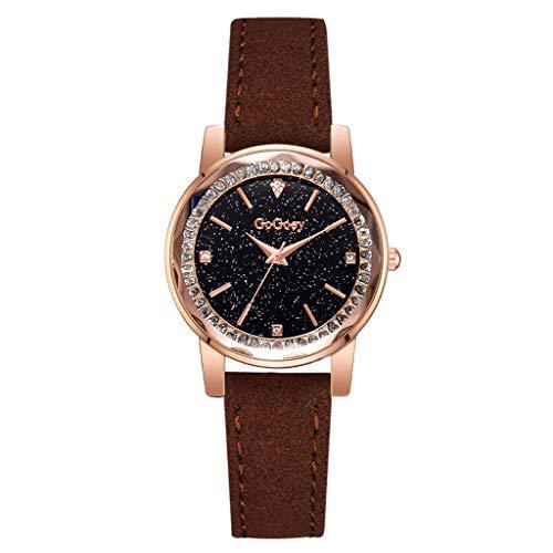 XBKPLO GoGoey Watches for Quartz Women Luxury Pave Diamond Bezel Business Ladies Fine Starry Sky Small Dial Analog Wrist Watch PU Leather Strap Bracelet Jewelry Gift