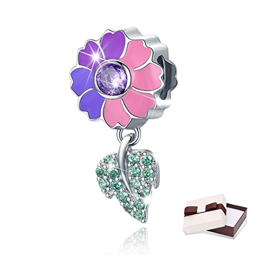BAMOER 925 Sterling Silver CZ Flowers Charm Pendant Enamel Charm Bead for DIY Bangle Bracelet