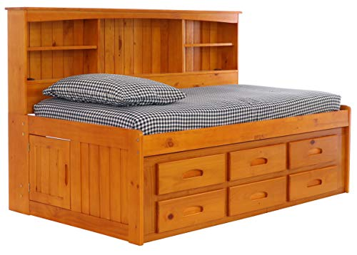 Deco 79 Bookcase Daybed with 6 Drawers, Twin, Honey (Captains Bed Bookcase)