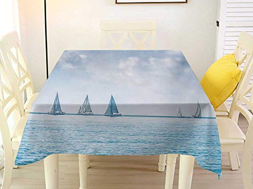 - L'sWOW Square Tablecloth red Ocean Sail Boats Sea Regatta Race Sports Panoramic View Seascape Summer Sky Photo Pale Blue and White Wrinkle 70 x 70 Inch