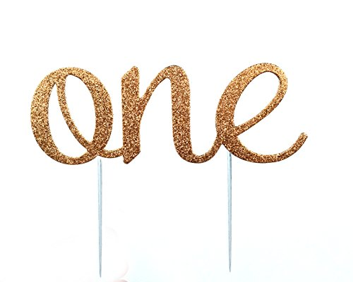 CMS Design Studio Handmade 1st First Birthday Cake Topper Decoration - One - Made in USA with Double Sided Glitter Stock (Rose Gold/Copper)