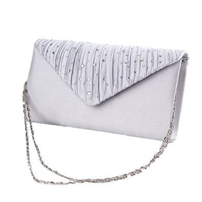 With Triangle Da Women's Shoulder Purse Handbag For Crystal Evening Strap Apricot Bag Hand Envelope Clutch Cover Clutch Wedding Bag with Silver Satin Wa Party TTxrfY