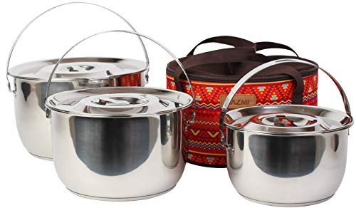 Kazmi Hera Stencook Kocher Set (Large) – Camping Gear and Cookware Set   Three Piece Stainless Steel Survival Gear Pots and Pans   Hiking, Backpacking, Travel, Outdoor Cooking   Camping Accessories