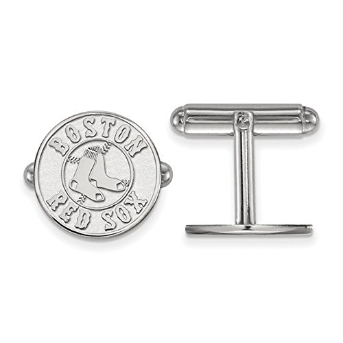Boston Red Sox Logo Cuff Links (Sterling Silver) (Sox Boston Silver Cufflinks Red)