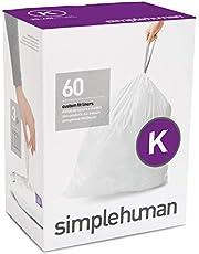 simplehuman Code K Custom Fit Drawstring Trash Bags, 35-45 Litre / 9-12 Gallon, White, 60 Count