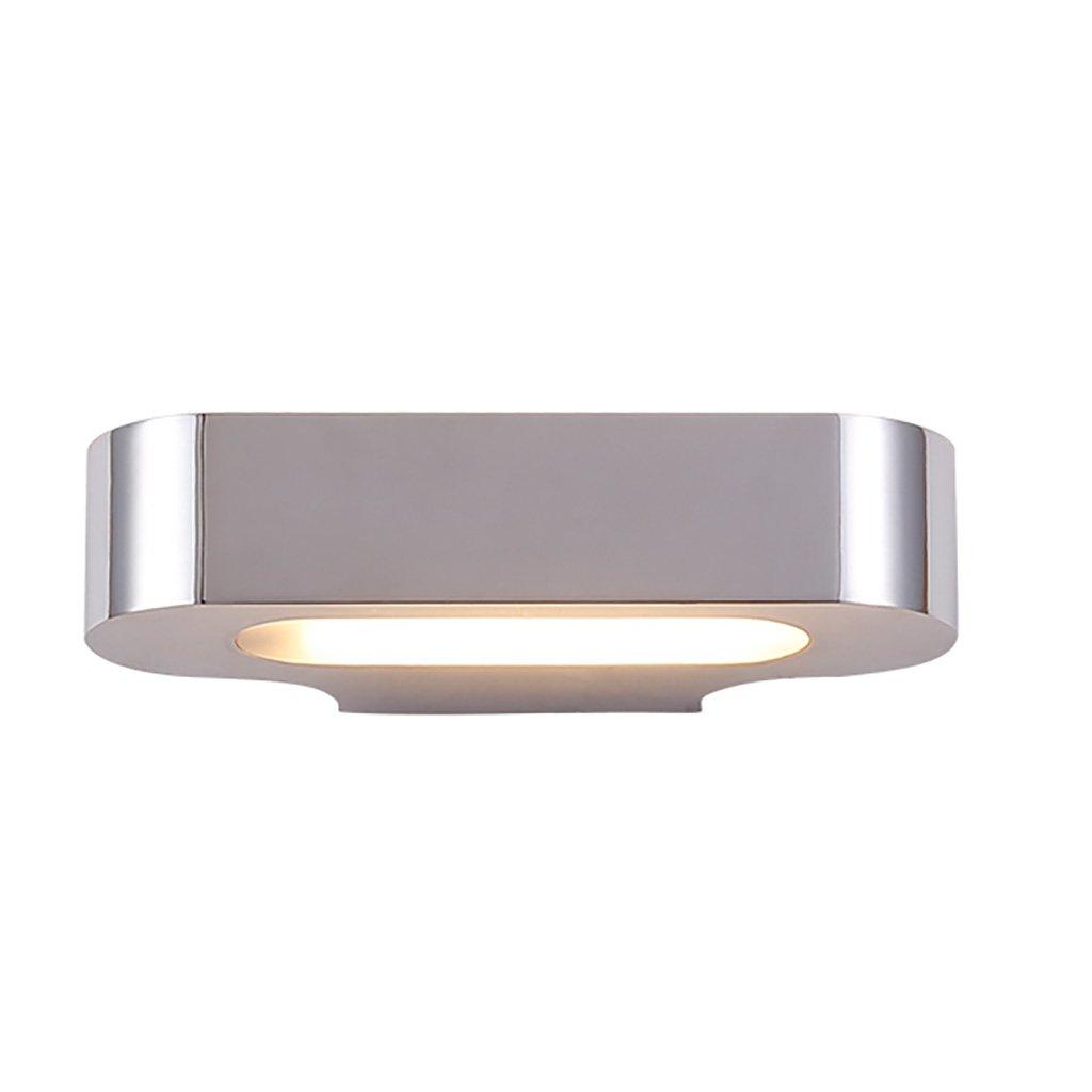 Wall Lamp - Alloy - Chrome Color White High 10cm Wide 22cm Energy Saving Lamp Modern Simple Creative Bedroom Corridor A++ ( Color : Chromium color )