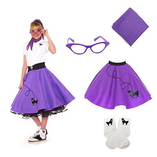 50s Style Dance Costumes (Hip Hop 50s Shop 4 Piece Child Poodle Skirt Costume Set, Size Small Purple)
