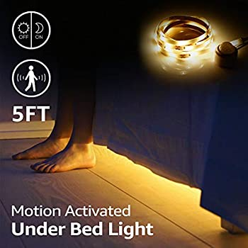 TORCHSTAR LED Motion Activated Bed Light Kit, 5ft Flexible Strip Lights, Waterproof, Power Supply Included, Baby Crib, Under Cabinet, Under Bed, ...