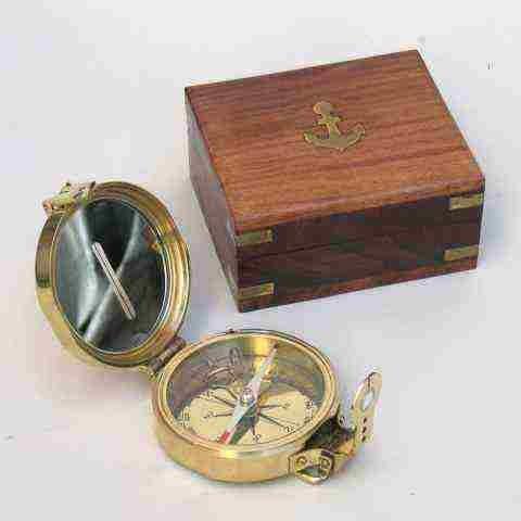 Handtooled Handcrafted Brass Clinometer Compass W/ Hardwood Box