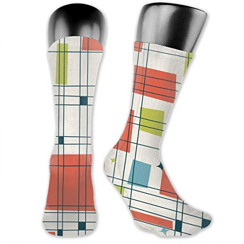 MFMAKER Abstract Mid Century Modern Grid Athletic Mid-Calf Socks Women's Men's Classics Below Knee Stockings Sports Long High Ankle Compression Sock One Size (Grid Mid Calf Socks)