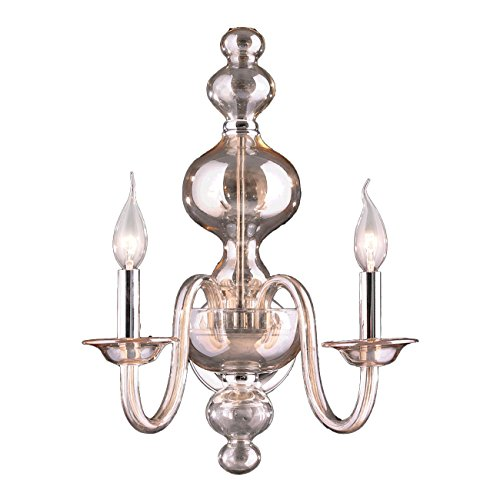 Worldwide Lighting Murano Collection 2 Light Chrome Finish and Golden Teak Crystal Wall Sconce 15