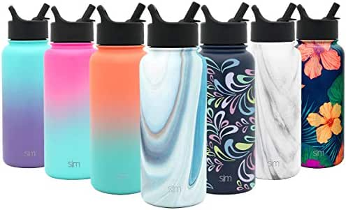 Simple Modern 22 oz Summit Water Bottle with Straw Lid - Gifts for Kids Hydro Vacuum Insulated Tumbler Flask Double Wall Liter - 18/8 Stainless Steel Pattern: Ocean Quartz