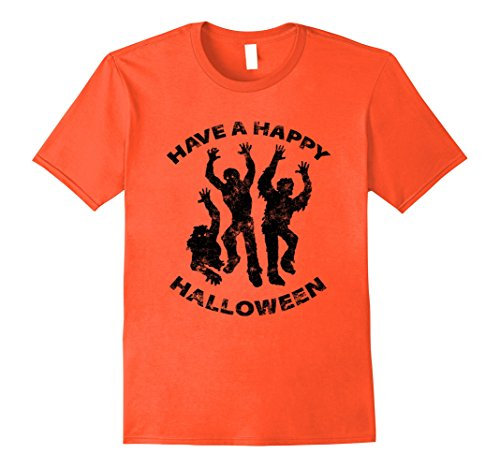 Costume Trio Ideas (Mens Funny Zombie T-Shirt Orange Halloween Shirt Letter Print Tee 3XL)