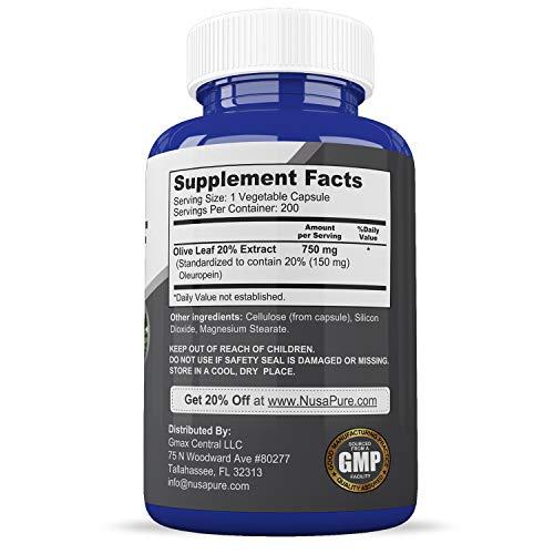 Olive Leaf Extract 20% 200 Caps (Non-GMO & Gluten Free) 750 mg - Oleuropein - Vegetarian - Super Strength - Immune Support, Cardiovascular Health & Antioxidant Supplement - No Oil