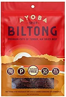 product image for Ayoba Spicy Biltong - Grass Fed, Keto and Paleo Certified Air-Dried Beef Snack - Better Than Jerky Tender Steak Cuts - Whole 30 Approved, No Sugar, Gluten Free, No Nitrates (2 Ounce)
