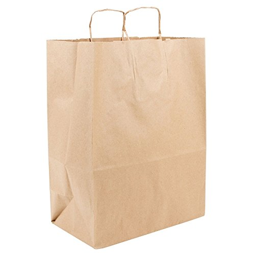 Recycled 13 x 7 x 17 Natural Brown Kraft Cub Paper Shopping Bags - Pack 250 by apaper