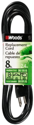Woods 4589 16/3 SJTW Replacement Power Supply Cord, 8-Foot, Black