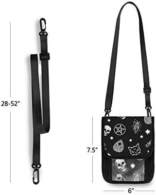トラベルウォレット ミニ ネックポーチトラベルポーチ ポータブル 骷髅 星空 小さな財布 斜めのパッケージ 首ひも調節可能 ネックポーチ スキミング防止 男女兼用 トラベルポーチ カードケース