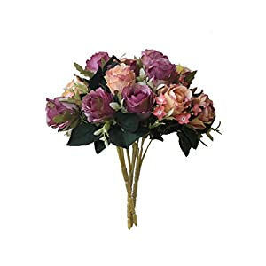 Artificial Multi-Coloured Rose Silk Flowers Bounquet Mixed Arrangement, Home Hotel Room Wedding Decoration(5 Head Rose,Pack of 3) 87