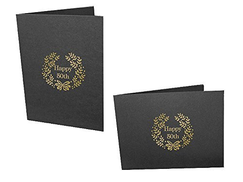 Happy 50th Foil on black cardboard photo folder Our price is for 50 units - 4x6 by SendAFrame