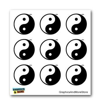 Yin and Yang Asian Chinese Symbol - Set of 9 - Window Bumper Laptop Stickers