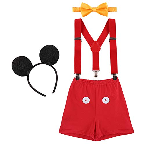 (Baby Boys First Birthday Christmas Costume Cake Smash Outfits Y Back Suspenders Bloomers Bowtie Set Mouse Ear #10 Red Pants 12-18)
