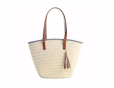 Soonyean Summer Straw Beach Bag Handbags Shoulder Bag Tote,cotton lining,Top Leather Handle-Eco Friendly