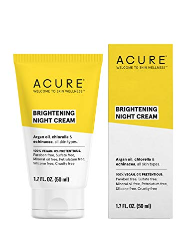 ACURE Brightening Night Cream | 100% Vegan | For A Brighter Appearance | Argan Oil, Chlorella & Echinacea - Moisturizes, Protects & Hydrates | All Skin Types  | 1.7 Fl Oz