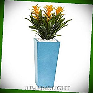 JumpingLight Triple Bromeliad in Turquoise Tower Vase, 26'', Yellow Artificial Flowers Wedding Party Centerpieces Arrangements Bouquets Supplies 96