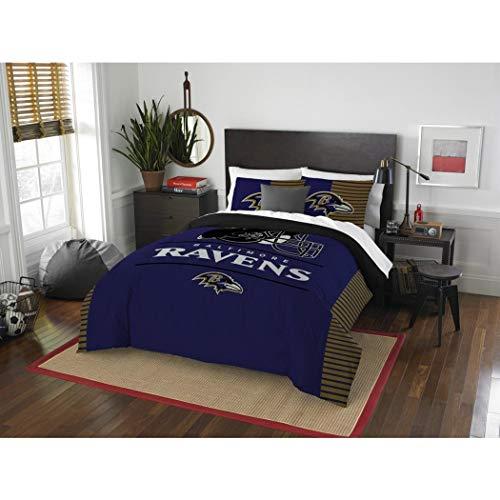 3 Piece NFL Baltimore Ravens Comforter Full Queen Set, Sports Patterned Bedding, Featuring Team Logo, Fan Merchandise, Team Spirit, Football Themed, National Football League, Blue, Multi, Unisex