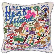 Hilton Head Collection - Catstudio Hilton Head, South Carolina Hand Embroidered Pillow | Geography Collection | 20