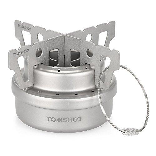 TOMSHOO Titanium Camping Stove Titanium Cup Mug Pot Compact Durable Portable Camping Cookware Mess Kit with Pot Spork Pan Water Bottle(Optional) (Titanium Camping Stove)