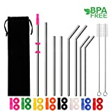 HANTAJANSS Stainless Steel Straws Set of 8 Drinking Straws with Silicone Silencers and Comfort Tips Cover Metal Drink Straw for 30 20 Ounce Tumblers Cleaing Brush Included