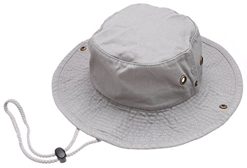 Summer Outdoor Boonie Hunting Fishing Safari Bucket Sun Hat with Adjustable Strap(Grey,SM)