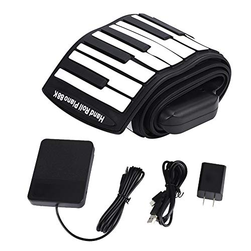 Alomejor 88 Keys Piano Portable Electronic Rolling Up Piano with Build-in Battery Good Gift for Beginner Children Kids
