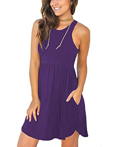 MOLERANI Women's Summer Casual T Shirt Dresses Swimsuit Cover Ups with Pockets Purple S