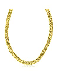 14K Yellow Gold Byzantine Design Stylish Necklace