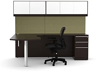 half off 662ed 8afb8 Amazon.com : 7pc L Shape Modern Executive Office Desk Set ...