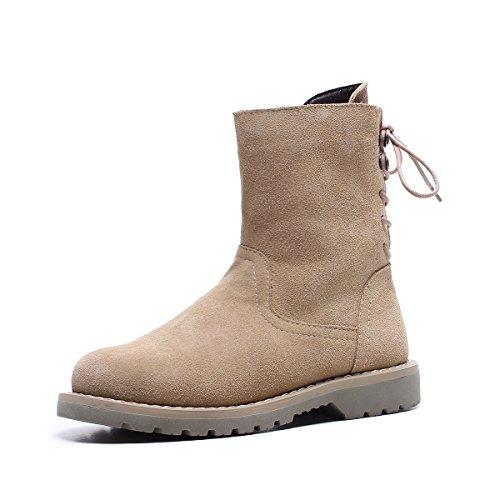 redonda la cortas botas Zapatos nieve de cabeza DYF caliente talón cachemir bajo de Khaki mujer xwRvanIW0q