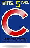 Wakuma, Chicago Cubs Vinyl Decal Sticker Set, 3 x 3 inch 5 Pack