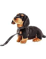 Uni-Toys - jamnik z smyczą - 27 cm (długość) - pies, zwierzę domowe - pluszowe zwierzątko pluszowe, maskotka